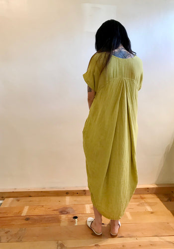 Black Crane Pleated Cocoon Dress / Lemon