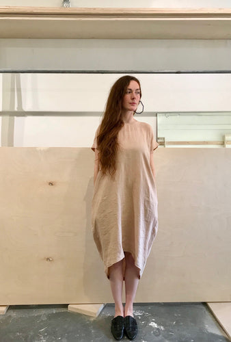 Black Crane Pleated Cocoon Dress / Peach