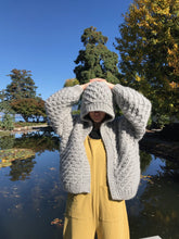 I Love Mr Mittens Daisy Hooded Bomber Wool / Light Grey