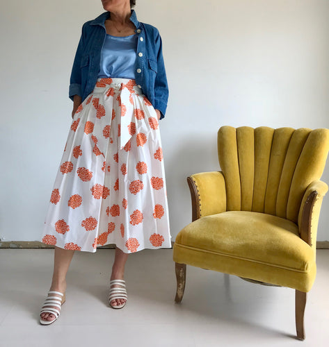 No.6 Scarlett Wrap Skirt - Cream / Rust Hydrangea