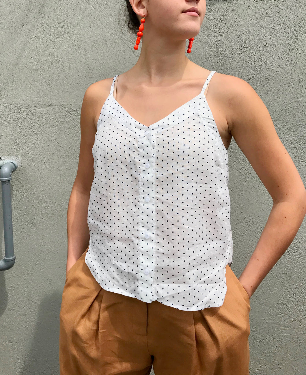 Stateside- Linen Button Up Cami / Navy Dot