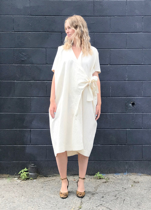 Lauren Manoogian Wrap Dress / Raw White
