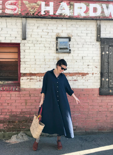 Sunja Link Crinkle Cotton Shirt dress / Navy