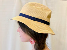 Mature Hate Boxed Hat in Natural with Navy Ribbon