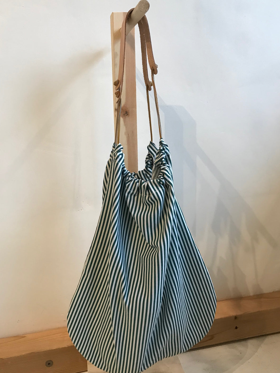 erin templeton Grocery Bag / Sienna, Black and Green Strips