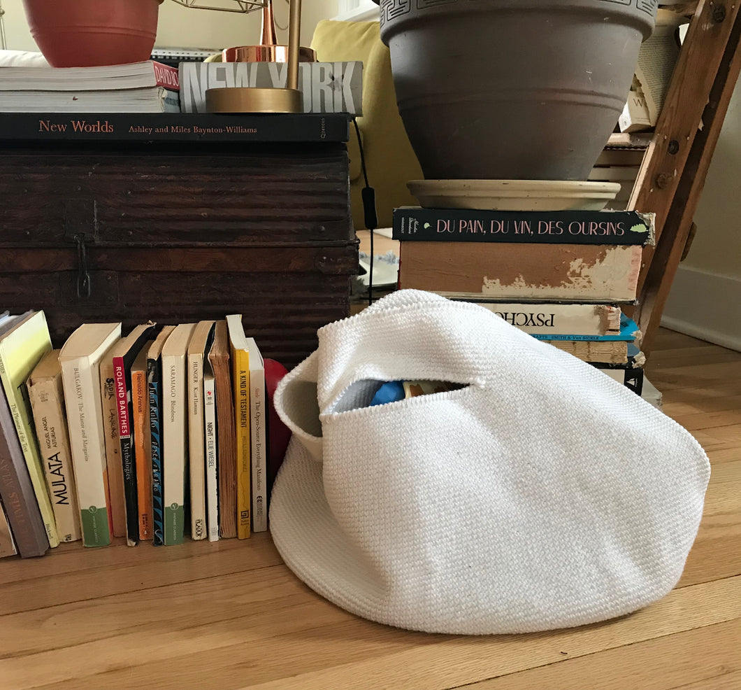 Lauren Manooogian Crochet bowl bag in Optic White.