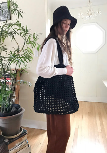 Lauren Manoogian Crochet Net Bag in Black