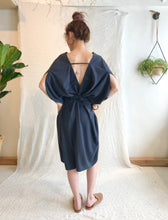 7115 by Szeki Signature 4-Ways Dress /  Raw Silk, Navy