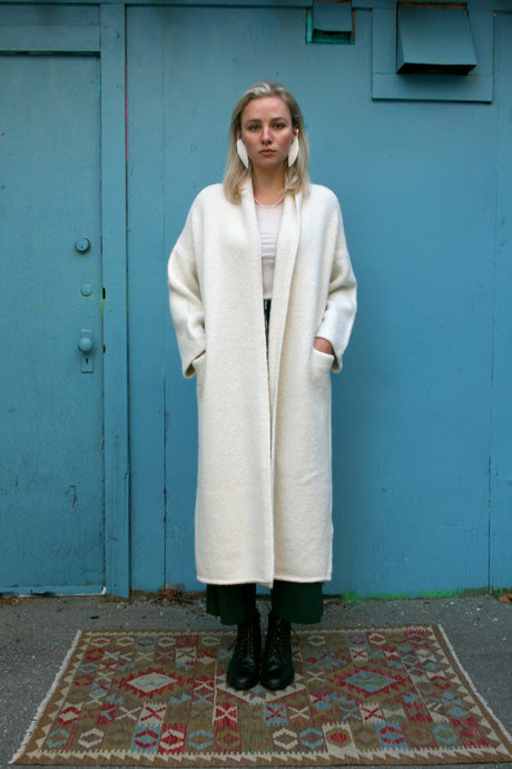 Lauren Manoogian Long Shawl Cardigan / White