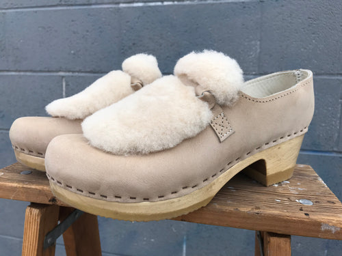 No.6 Fur Loafer Clog on Mid Heel in Bone Bone / Brown Base