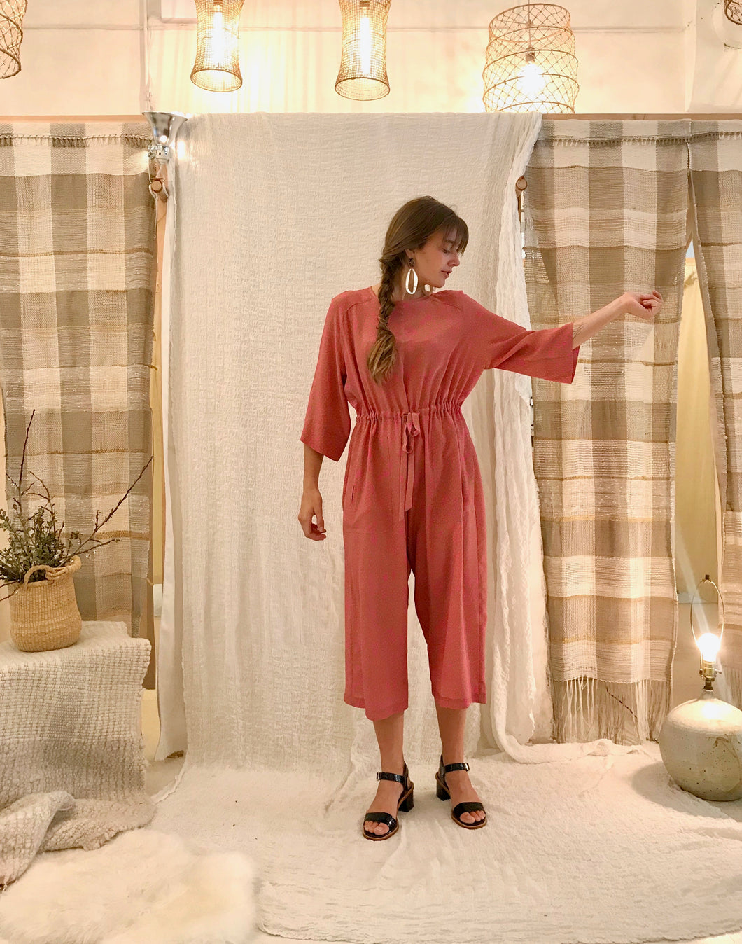 No.6 Ida Jumpsuit / Tan + Pink Dots