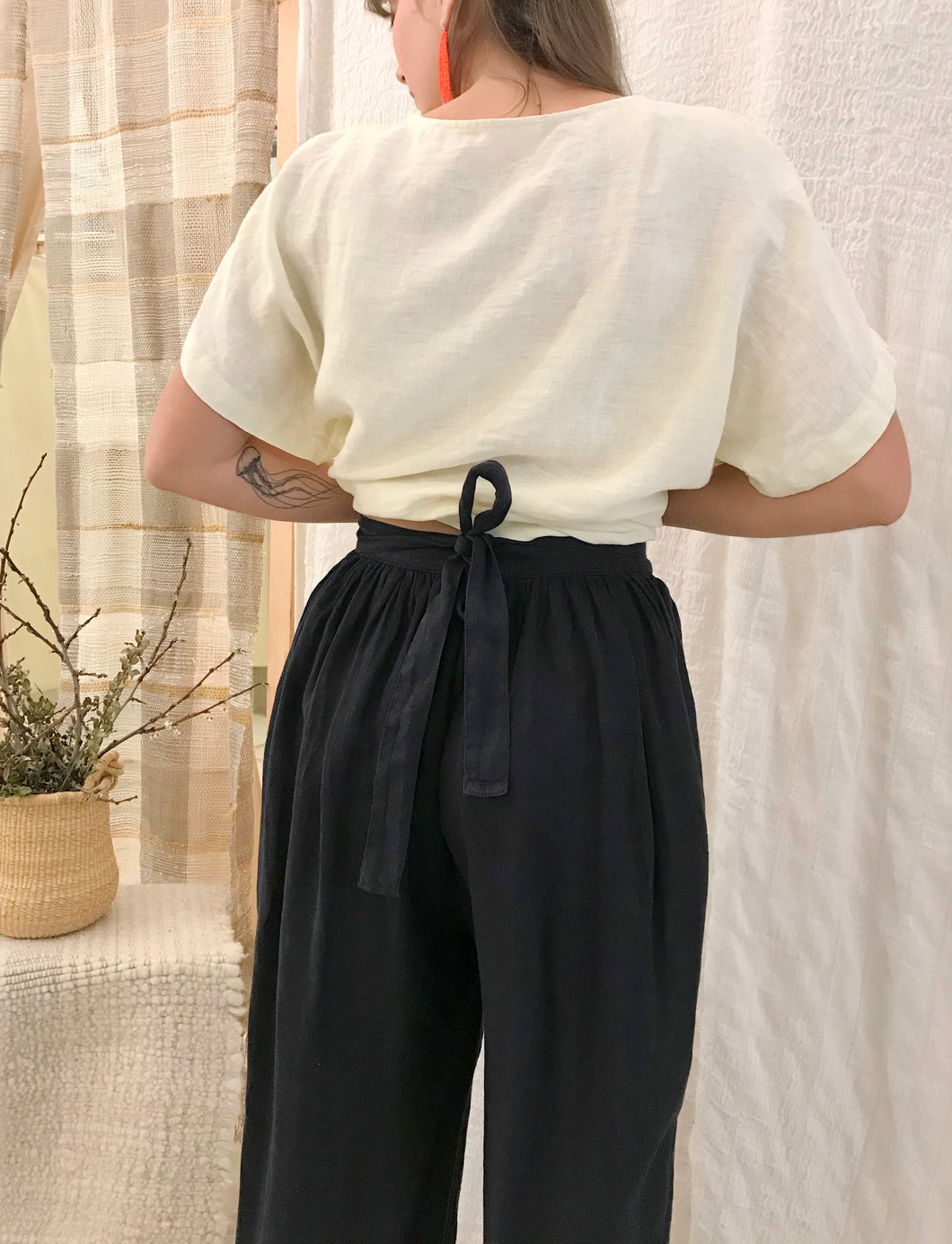 Black Crane Sack Pants / Black