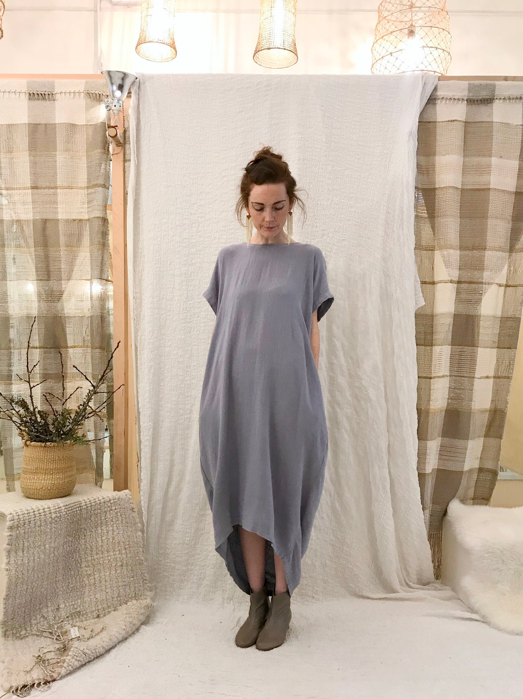 Black Crane Pleated Cocoon Dress / Lavender