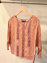 No.6 Berring Silk Top in Cream/Blue Clustered Vine and Sky/Orange