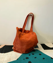 Baggu Basic Suede Tote / Rust and Taupe