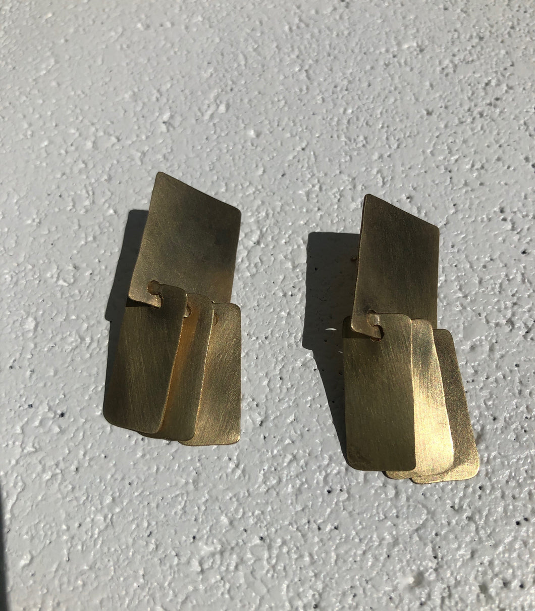 Fay Andrada Suti Square Earrings / Brass