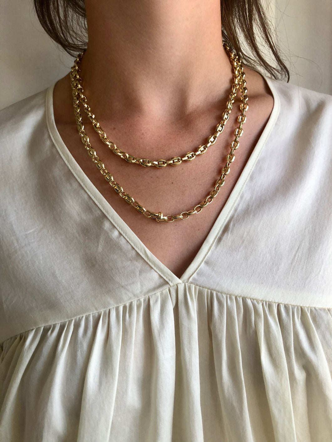 Machete Petite Coffee Bead Necklace / Gold
