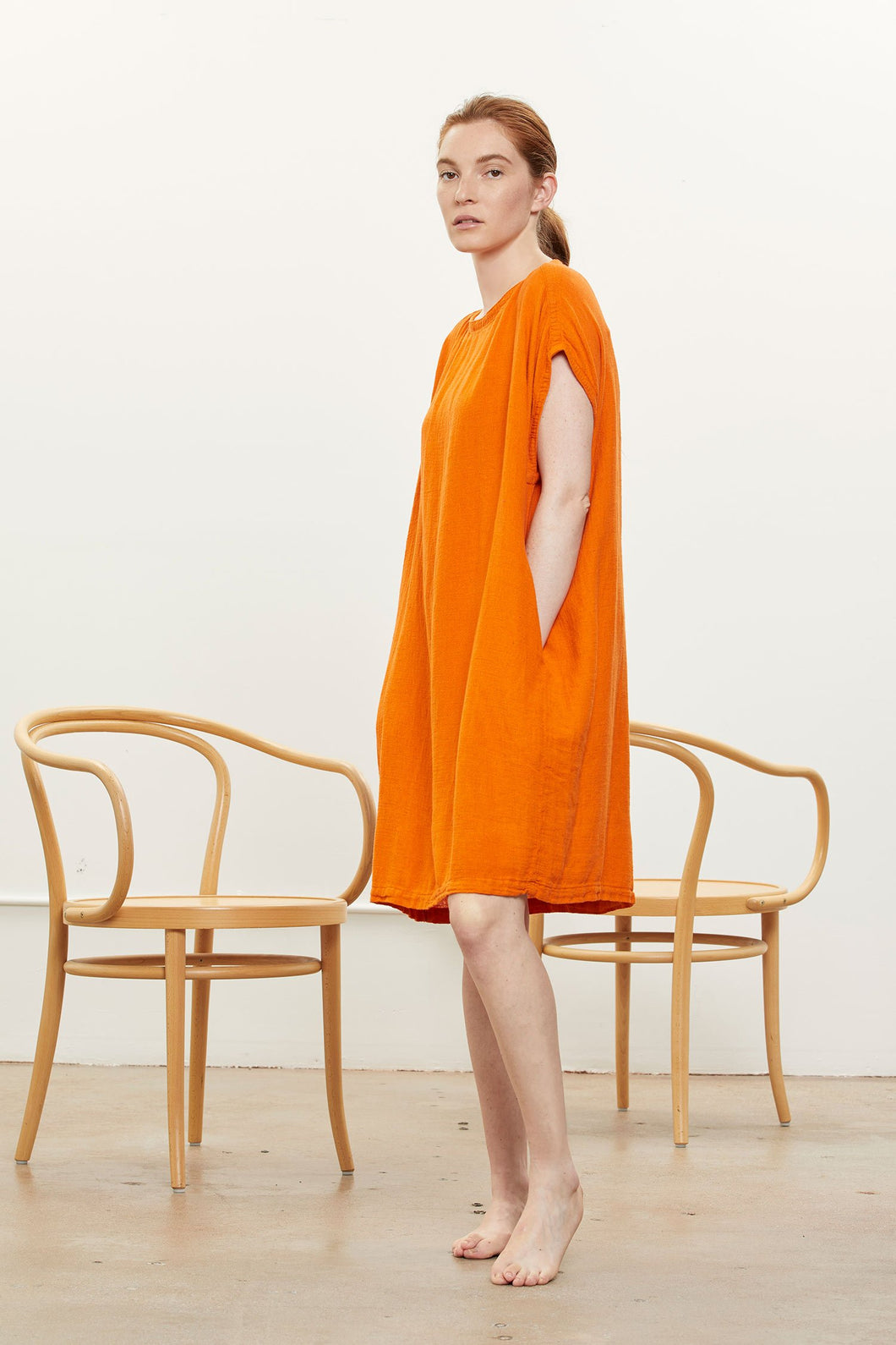 Black Crane Box Dress / Orange