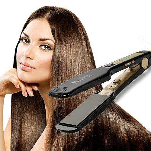KIPOZI Professional Titanium Hair Straightener Flat Iron with Digital LCD Display ,Dual Voltage,Instant Heat Up(1.75 inch,black)
