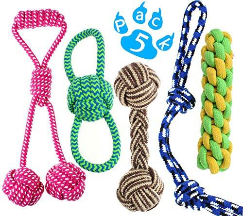 Lobeve Dog Chew Toys 5 Pack Gift Set, Durable puppy Rope Toy Small Set
