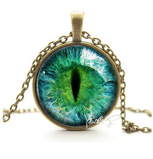 FREE Vintage Blue Green Rhinestone Cat Eye Pendant Necklace