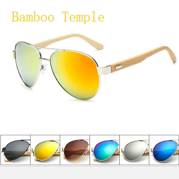 Pilot Wood Sunglasses Unisex Brand Design Mirror Sun Glasses UV400