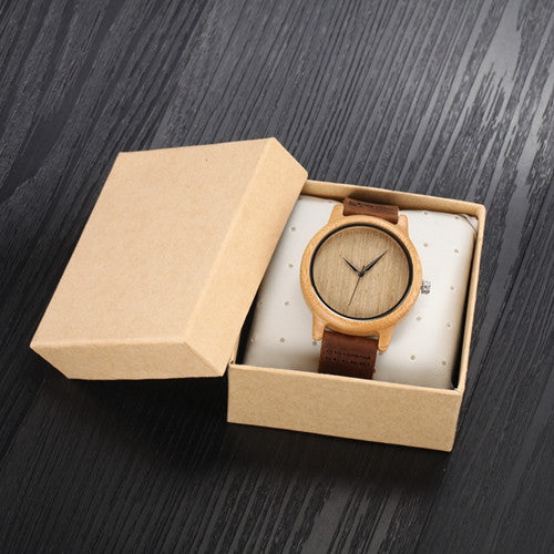 Luxury Bamboo Wood Watch Unisex Quartz Clock Fashion Casual Leather Strap Wrist Watch