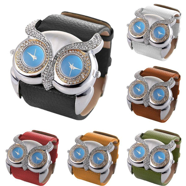 Womens Gril Faux Leather Rhinestone Owl with Double Dual Dial