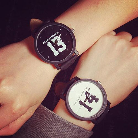 Men & Women Couple Lovers Numeral Dial Leather Strap Watch