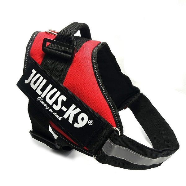 High Quality POLICE K9 Nylon Large Big Dog Harness Vest Julius K9 Glow Dog Collar Perro Arneses Perros Honden Harnais Mascotas