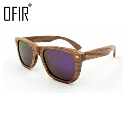 OFIR High Quality Zebra Wooden Sunglasses Polarized Eyeglasses For Men Women Polaroid  With Wooden Box sunglasses men NG-73