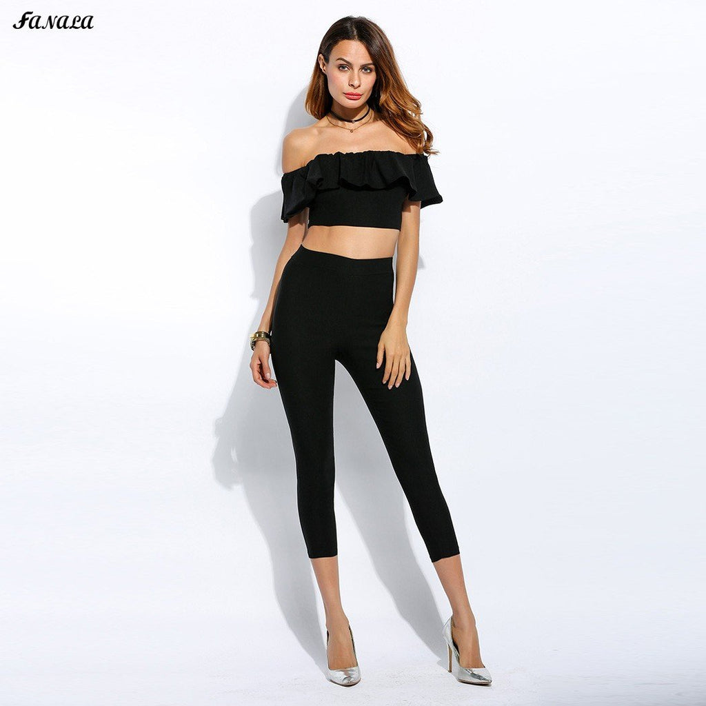 FANALA Summer Women Set Solid Off Shoulder Sleeveless Ruffled Crop Top and Pants 2 Piece Set Suit Women Clothing Set