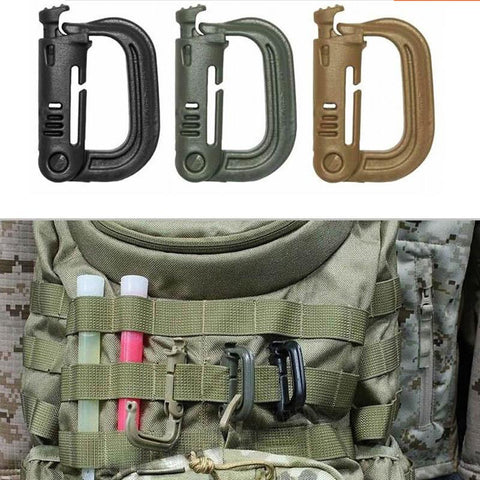 Hot Free Shipping Molle Tactical Backpack EDC Shackle Carabiner Snap D-Ring Clip KeyRing Locking Wholesale
