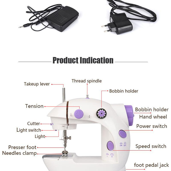 Mini Hand / Foot Pedal sewing machines Motor Dual Speed Portable Mini Electric Sewing Machine Overlock AC100-240V Double Threads