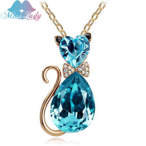 8K Gold Plated Rhinestone Crystal Cute Lovely Cat Pendant