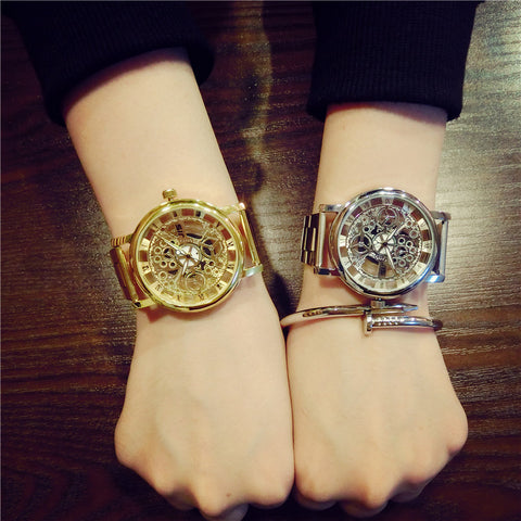 Luxury Skeleton Watch Fashion Casual Stainless Steel Men/Women
