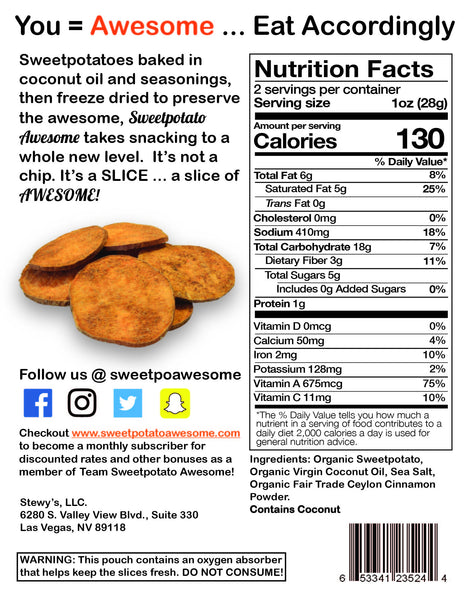 Nutritional information on the back label of the 2 oz. pouch of Original Awesome freeze dried organic sweetpotato slice...survival food or healthy snack.