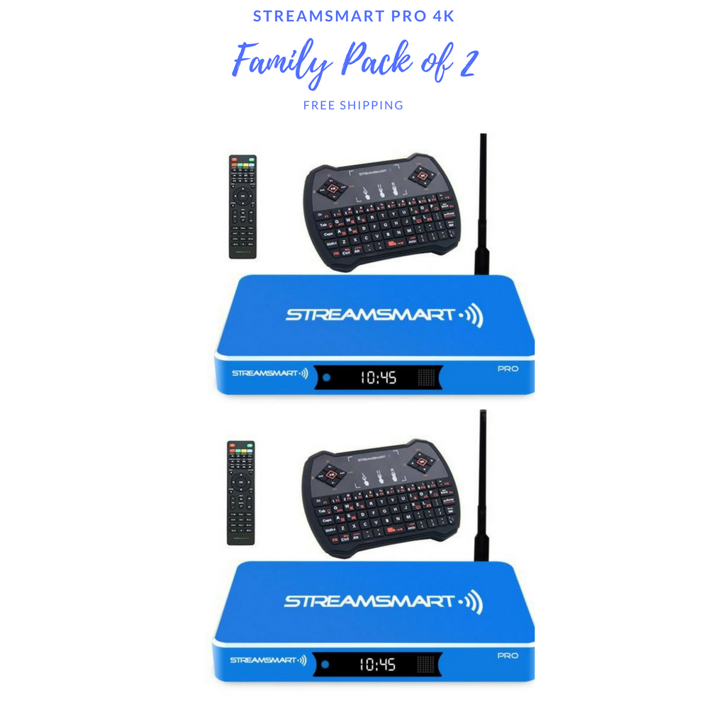 Family Pack of 2 StreamSmart Pro 4K including Wireless Remote Keyboard