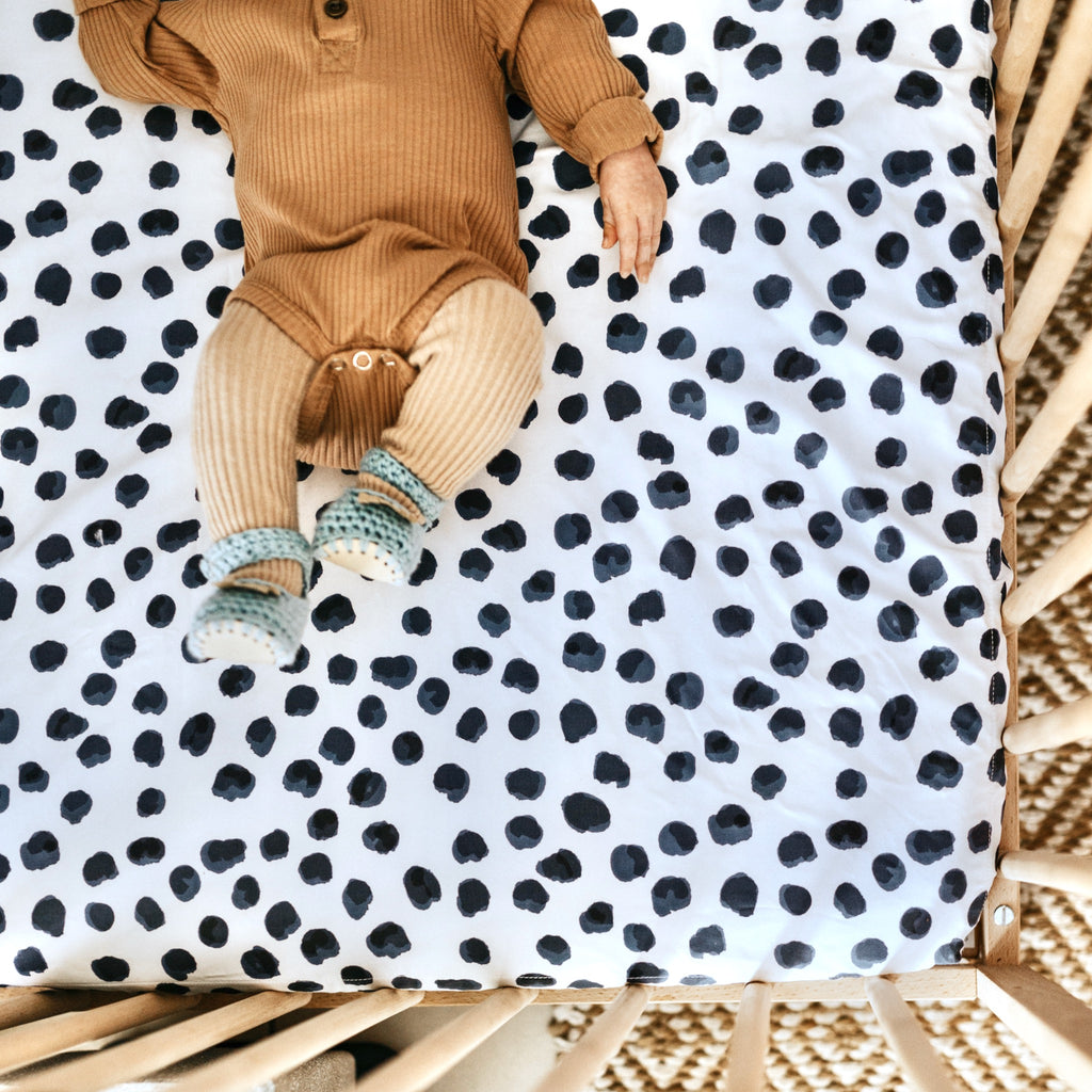 Ink Spot | Waterproof Cot Sheet | Organic Cotton
