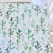 Green Cacti | Waterproof Cot Sheet | Organic Cotton