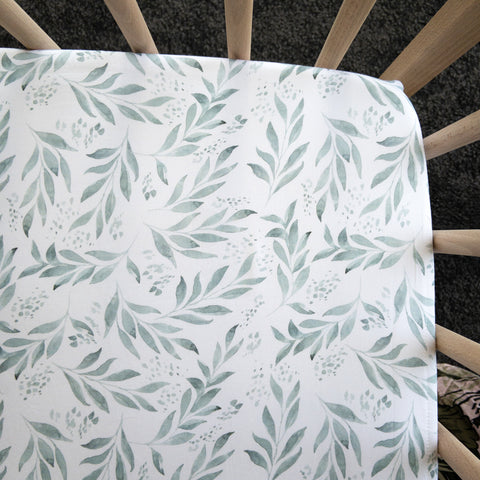 Organic Leaf Waterproof Cot Sheet