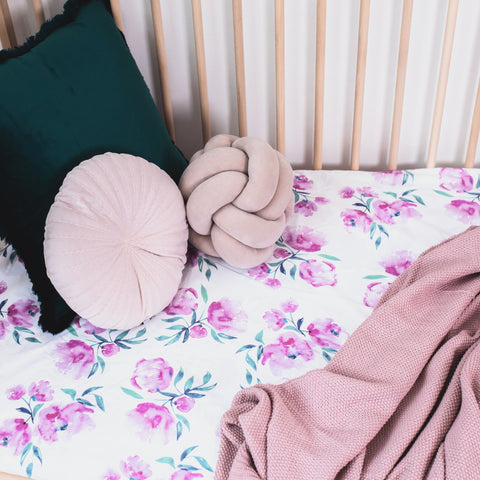 Pink Peonies | Waterproof Cot Sheet | Organic Cotton