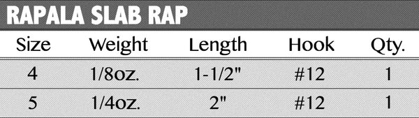 Rapala Slab Rap - Sizes