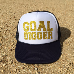 hat - Goal Digger Trucker Hat - White Front - DGSG Athletic Apparel