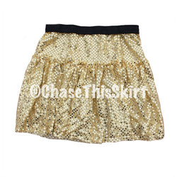 skirt - Light Gold Sparkle Running Skirt - DGSG Athletic Apparel