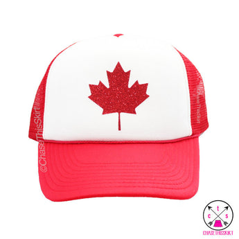 hat - Sparkly Maple Leaf Trucker Hat - DGSG Athletic Apparel