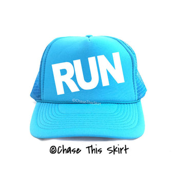 hat - Neon Blue Run Trucker Hat - DGSG Athletic Apparel