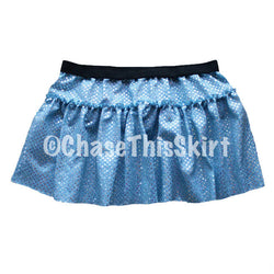 skirt - Baby Blue Sparkle Running Skirt - DGSG Athletic Apparel