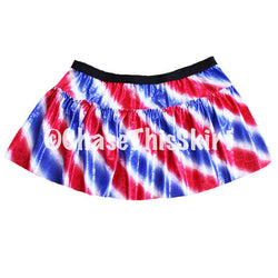 skirt - Red, White and Blue Striped Running Skirt - DGSG Athletic Apparel