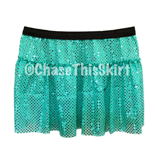 skirt - Teal Sparkle Running Skirt - DGSG Athletic Apparel